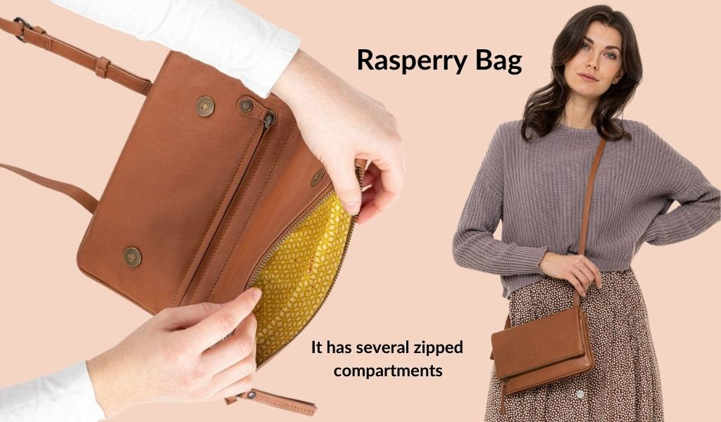 A woman is shown wearing a tan coloured medium-sized rectangular purse. Text: Raspberry Bag: It has several zippered compartments.