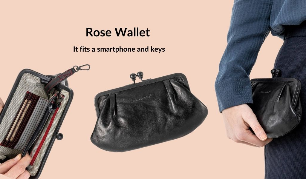 A woman is shown holding a black leather wallet. Text: Rose Wallet. It holds a smartphone and keys.