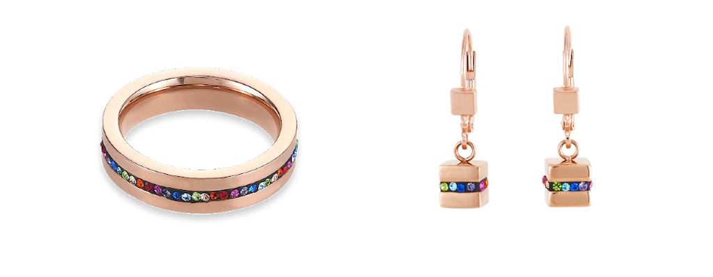 coeur de lion rainbow crystal pave strip ring and earring