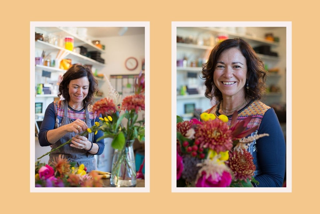 Cate arranges flowers in her Stratford store.