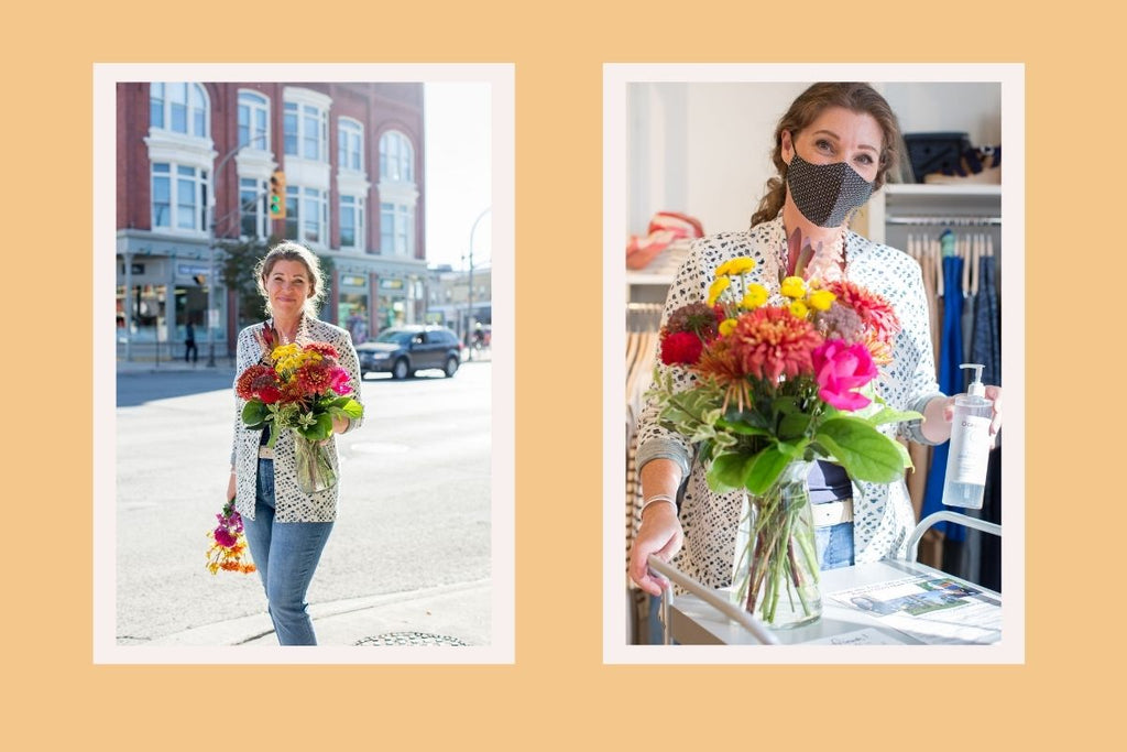 Left, Jo walks on the street carrying a bouquet. Right, Jo greets customers at the front door of Resonance, with a bouquet and a hand sanitization station.