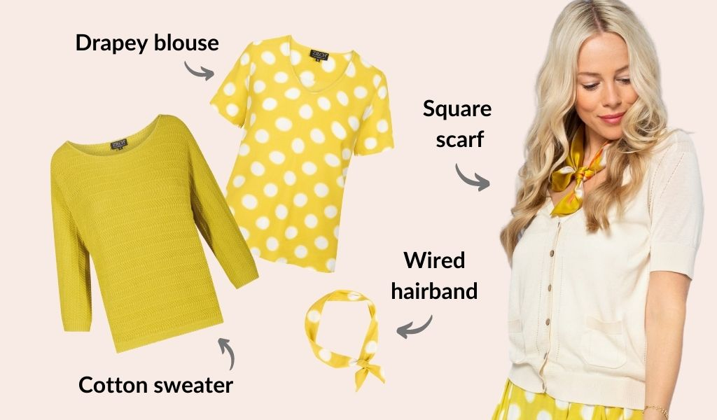 Yellow sweater, yellow blouse with white polka dots, yellow hairband with white polka dots, yellow pattered scarf