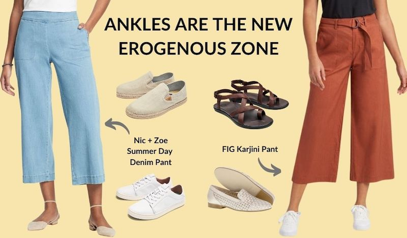 Headline: Ankles are the new erogenous zone. Two pairs of pants are shown, each with two pairs of shoes that coordinate. Nic + Zoe Summer Day Denim Pants in light blue are shown with Olukai Espadrilles in ivory, and Olukai Pehuea Lī 'Ili sneakers in white.