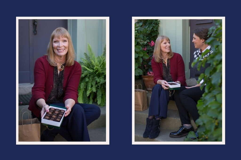 On the left, there's a photograph of Judy Matheson holding a box of chocolates and smiling at the camera. On the right, she shares the chocolate with Resonance founder Jo Gordon.
