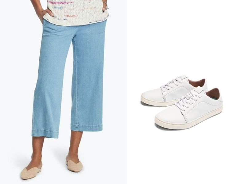 Nic + Zoe Summer Day Denim Pants in light blue come above the ankle and have a loose wide leg. They are shown with Olukai  Pehuea Lī 'Ili white sneakers