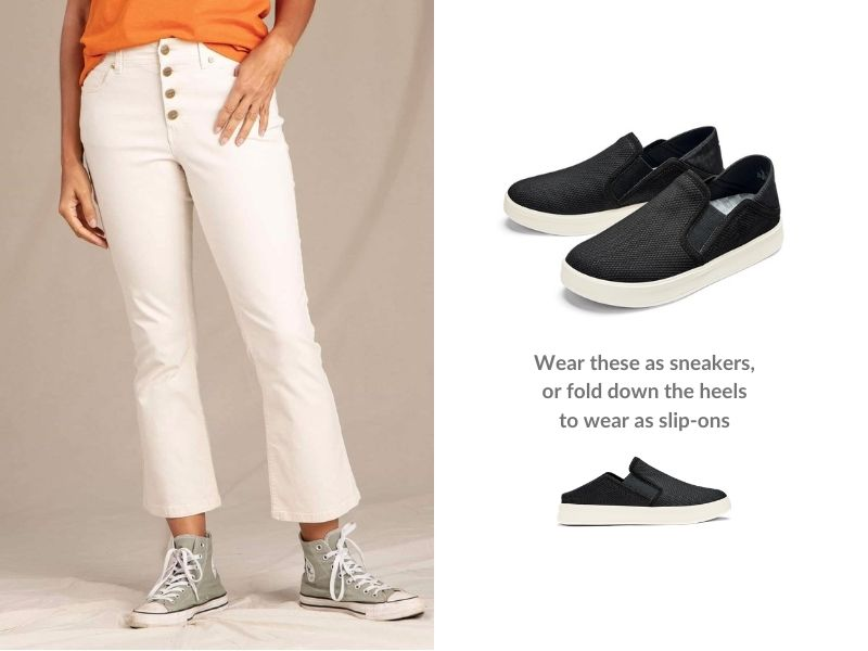 Left: A woman wears flared white jeans. Right, a pair of black sneakers with a white sole. Text reads: Wear these as sneakers, or fold down the heel to wear as slip-ons.