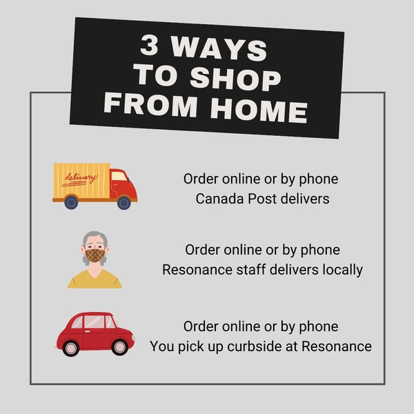 The image reads: 3 ways to shop from home. 1. Shop online or by phone. Canada Post delivers. 2. Shop online or by phone. Resonance staff delivers locally. 3. Shop online or by phone. You pick up curbside at Resonance.