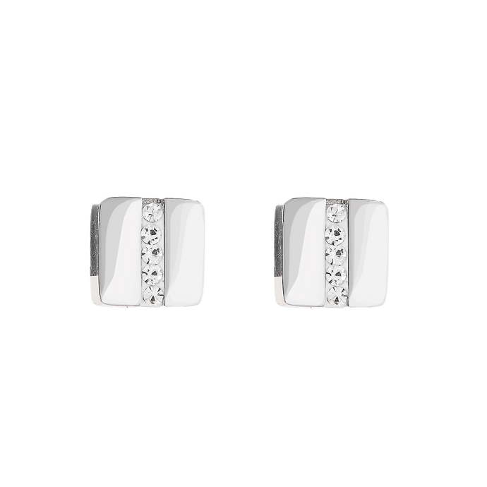 Coeur De Lion Stainless Steel Square Pavé Strip Crystal Earring