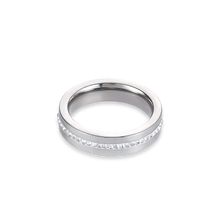 Load image into Gallery viewer, Coeur De Lion Stainless Steel & Crystals Pavé Strip Ring