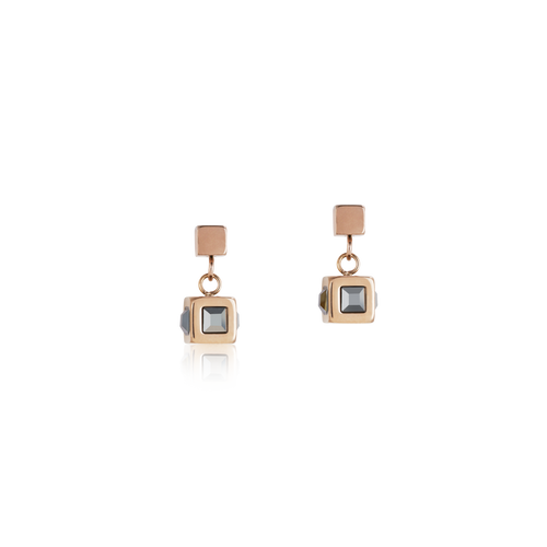 Coeur De Lion Earrings cube stainlees steel rose gold & crystal anthracite