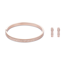 Load image into Gallery viewer, Coeur De Lion Rose Gold Stainless Steel & Crystals Pavé  Bangle Peach