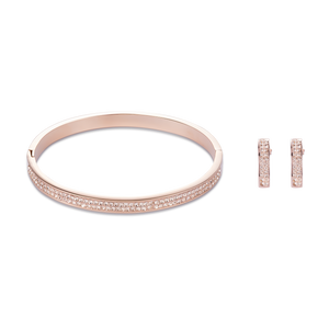 Coeur De Lion Rose Gold Stainless Steel & Crystals Pavé  Bangle Peach