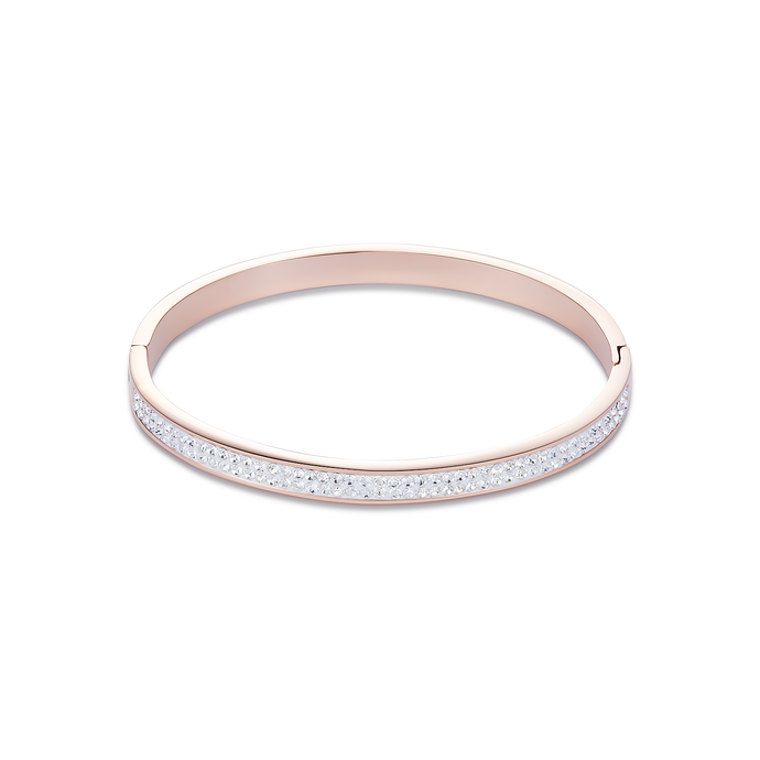 Coeur De Lion Rose Gold Stainless Steel & Crystals Pavé  Bangle
