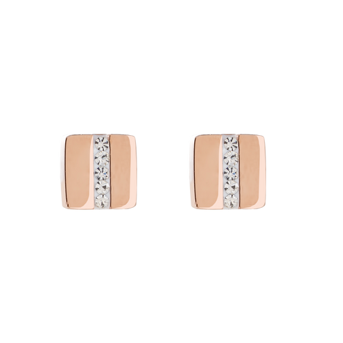 Coeur De Lion Rose Stainless Steel Rose Gold Square Pavé Strip Crystal Earring