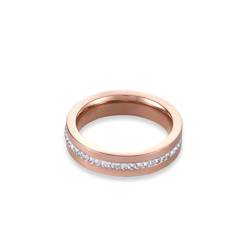 Coeur De Lion Stainless Steel Rose Gold & Crystals Pavé Strip Ring