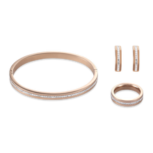 Load image into Gallery viewer, Coeur De Lion Stainless Steel Rose Gold & Crystals Pavé Strip Ring