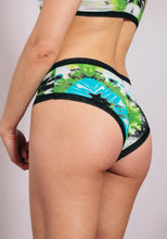 Load image into Gallery viewer, Blush Lace Trim Microfibre  Seamless Hipster on model rear view tie dye
