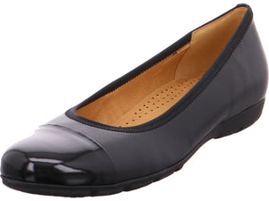 Gabor Patent Toe Cap Detail Leather Slip On Ballerina