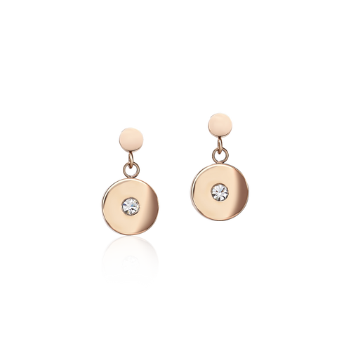 Coeur De Lion Earrings Coins Stainless steel rose gold, cut glass & Swarovski® Crystals white