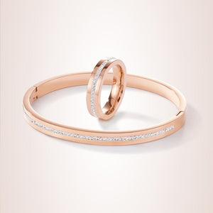 Coeur De Lion Stainless Steel Rose Gold & Crystals Pavé Strip Ring and Bangle