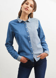 Saint James Sandrine Contrast Cotton Denim Shirt