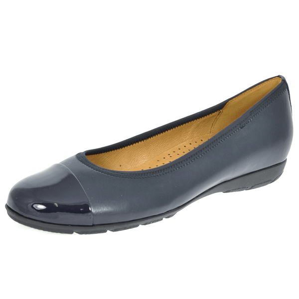 Gabor Patent Toe Cap Detail Leather Slip On Ballerina 34.161