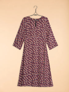 Nile Key Hole Neckline Print Dress H17221