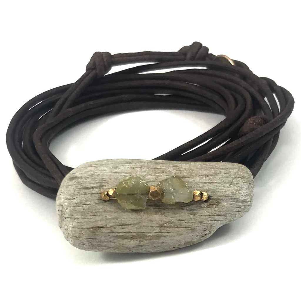 Driftwood wrap bracelet + yellow Diamond slices