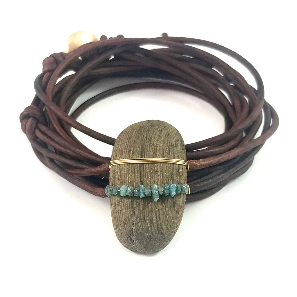 Driftwood wrap bracelet + blue Diamonds