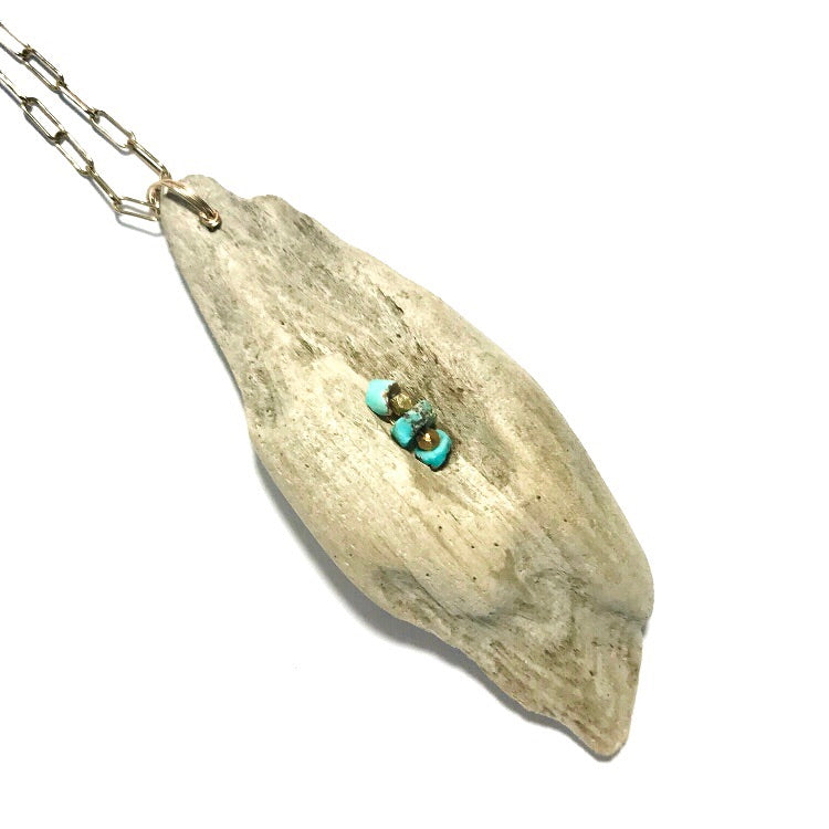 Driftwood long necklace + Turquoise