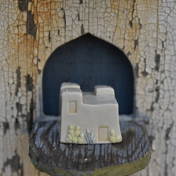 Adobe House #1 in Porcelain with Clear Glaze and Cactus and Agave