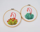 Succulent Embroidery in Aqua Turquoise Green Ombre with Salmon and Coral Colored Flower