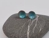 Turquoise Blue Fleck Cups Enameled Earrings with Silver Posts