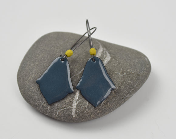 Blue Grey India Enameled Earring on Oxidized Silver Hook