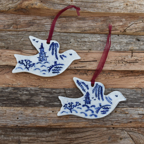 Blue Willow Dove Porcelain with Burgundy Ribbon