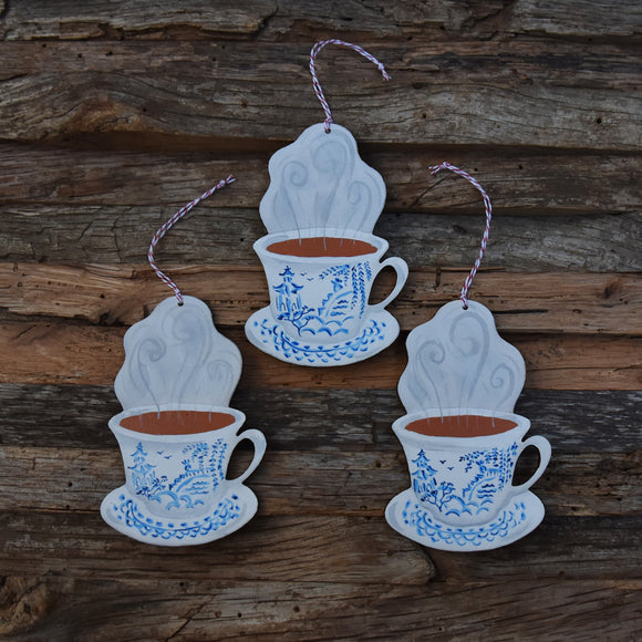 Blue Willow Teacup Wooden Ornament Laser Cut Wood and Handpainted