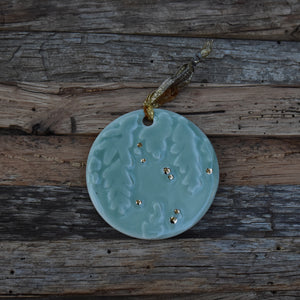 Winter Branch in Celadon Porcelain with Gold Lustre Ornament