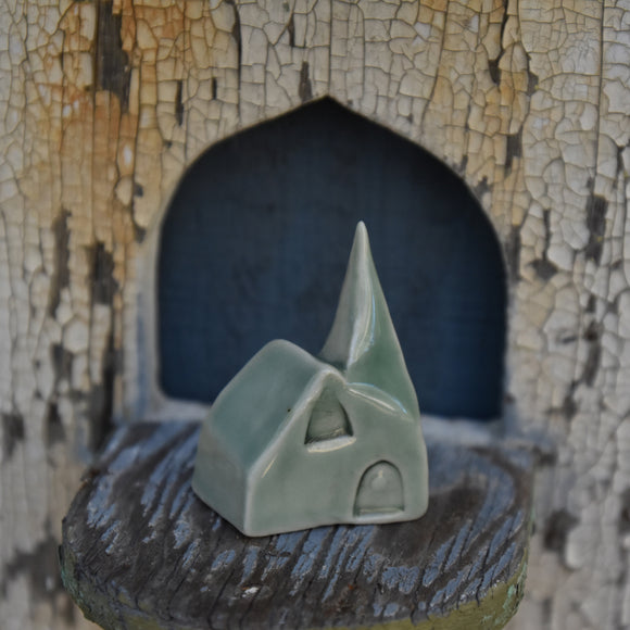 Tiny Cathedral #2 in Porcelain with Celadon Glaze