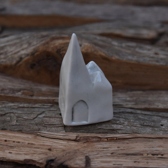 Tiny Pointy House in Porcelain with Clear Glaze