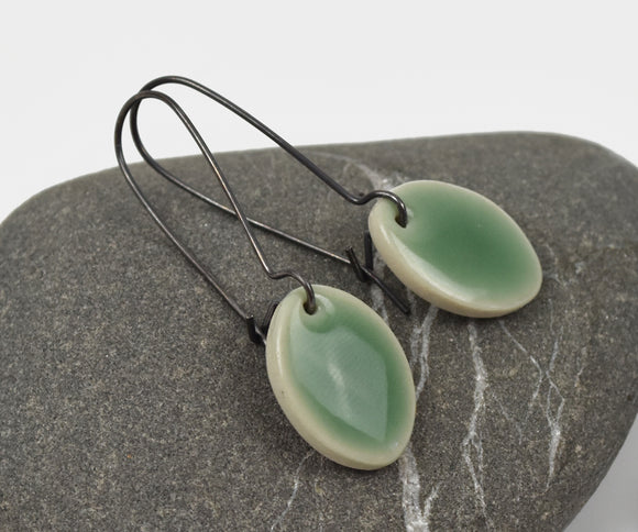 Celadon Leaf-- Porcelain on oxidized silver kidney hooks
