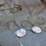 Pink Mishima Hatch Circles on Blackened Silver Small Hoops
