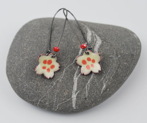 Cherry Blossom in Cream and Coral Enameled Earring on Oxidized Silver Hook