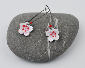 Cherry Blossom Enameled Earring on Oxidized Silver Hook