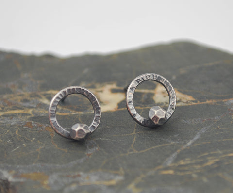 Circle Studs with Faceted Drop-- oxidized silver