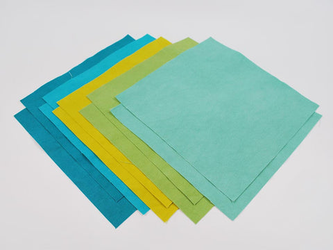 """Cool Assortment"" Hand Dyed Linen/Cotton Blend Fabric for Embroidery Projects 9 x 9 Squares, 10 pieces, 2 each 5 colors"