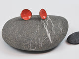Coral Cups Enameled Earrings with Silver Posts
