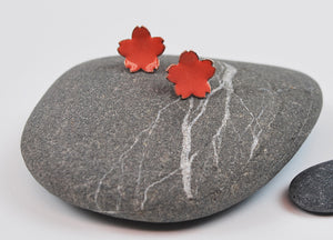 Coral Cherry Blossom Enameled Earrings with Silver Posts