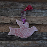 Dove in Coral Porcelain Ornament #2