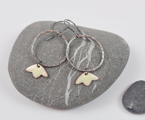 Tulip Hoops Cream Blossom Enameled Earring on Oxidized Silver