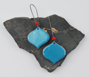Denim Blue Enameled Onion Earring on Oxidized Silver Hook